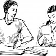Sketch of a guy and a girl reading a book at the table — Imagen vectorial