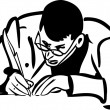 Sketch of a man with glasses writing quill pen — Stock vektor