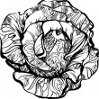 Stock Photo: Black and white rose with tatoo