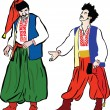 There were two Ukrainian men in their national costumes — Stock Vector