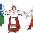 Group of in the Ukrainian national costumes — Imagen vectorial