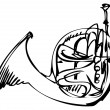 Sketch of the copper horn musical instrument — Векторная иллюстрация