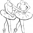 Stock Vector: Sketch of two girls standing in a pair of ballerina