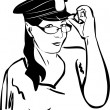 Royalty-Free Stock Vector Image: Girl trying on glasses in a police cap