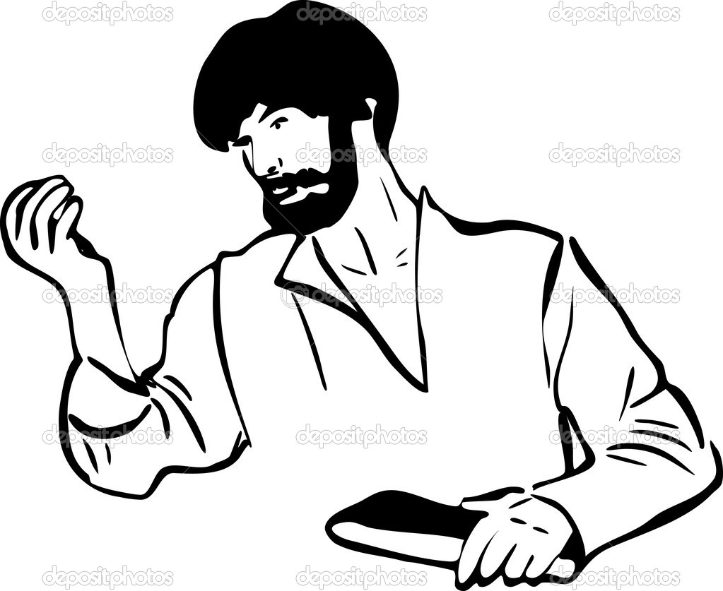 Sketch of a man is considering something in his hand — Stock Vector #7624549