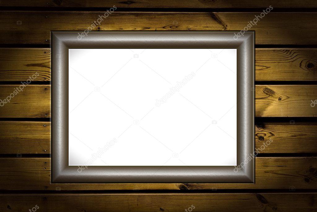 金属框架在纹理粗糙木板背景