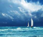 Thunder, storm, yachts — Stock Photo