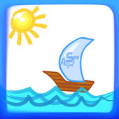 Children's drawing of a ship — Stockvektor