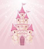 Roze hemel kasteel — Stockvector
