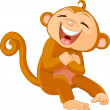 Stock Vector: Laughing monkey