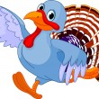 Running Cartoon Turkey — Imagen vectorial