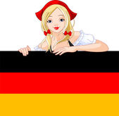 Germany girl over Deutsch flag sign — Stock Vector