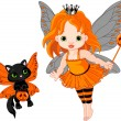Cute Halloween baby fairy and cat — Stock Vector