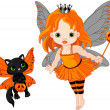Cute Halloween baby fairy and cat - Stock Vector