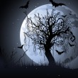 Creepy tree at night — Imagen vectorial