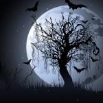 Creepy tree at night — Stock Vector