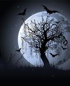 Gruselige baum in der nacht — Stockvektor