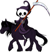 Cartoon grim reaper riding horse — Stockvektor