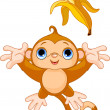 Funny Monkey catching banana — Stock Vector