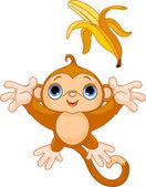 Funny Monkey catching banana — Stock Vector