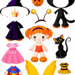 Girl with dresses for Halloween Party — Stock Vector #7081675