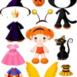 Stock Vector: Girl with dresses for Halloween Party