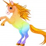 Rainbow colored unicorn — Stock Vector