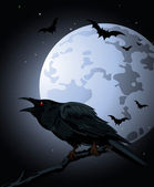 Crow against a full moon — Stock Vector