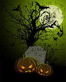 Tombstone and Pumpkins — Stock Vector
