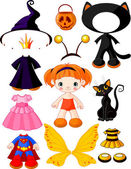 Girl with dresses for Halloween Party — Stock Vector
