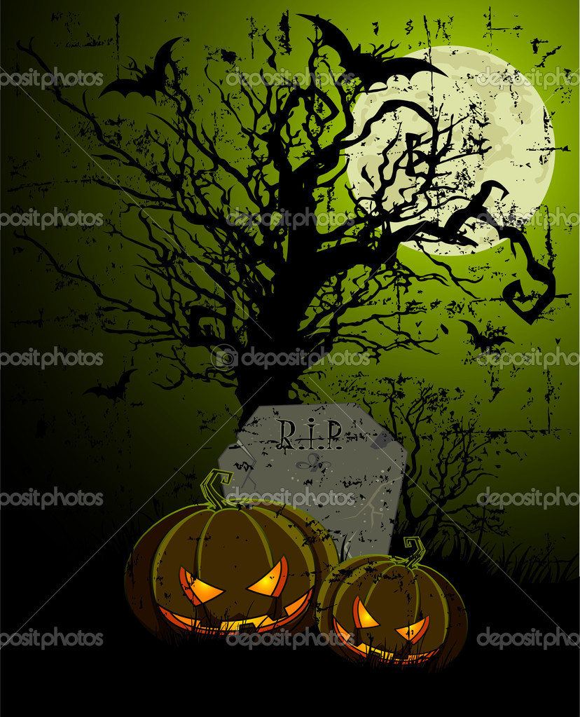 Halloween Illustration with Tombstone and Pumpkins  — Stock Vector #7081661