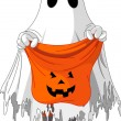Ghost trick or treating - Stock Vector