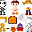 Royalty-Free Stock Vector Image: Boy with costumes  for Halloween Party