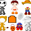 Boy with costumes  for Halloween Party - Stock Vector