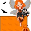 Little Halloween Fairy place card — Stock Vector