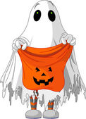 Ghost trick or treating — Vector de stock
