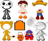 Ragazzo con costumi per la festa di halloween — Vettoriale Stock