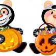 oso de peluche Halloween — Vector de stock