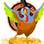 pavo de acción de Gracias feliz — Vector de stock