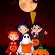 Royalty-Free Stock Vector Image: Halloween background with   trick or treating children