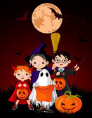 Halloween background with trick or treating children — Vector de stock