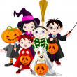 Stock Vector: Halloween trick or treating children