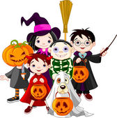 Halloween trick or treating children — Vector de stock