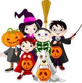Halloween truco o el tratamiento de los niños — Vector de stock