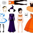 Halloween Girl with costumes — Stockvectorbeeld