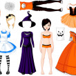 Stock Vector: Halloween Girl with costumes