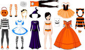 Halloween Girl with costumes — Stock Vector