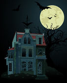 Spooky haunted house background — Stock Vector