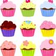 Various cupcake — Stock Vector