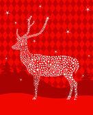 Estrellas ciervos de la navidad — Vector de stock